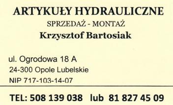 ARTYKUŁY HYDRAULICZNE SPRZEDAŻ – MONTAŻ Krzysztof Bartosiak